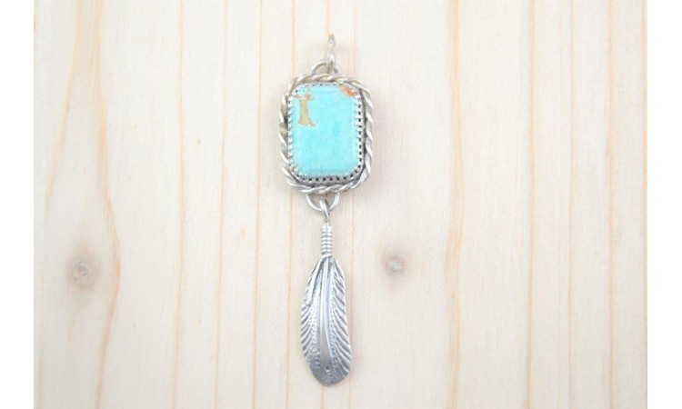 Royston turquoise and feather Pendant
