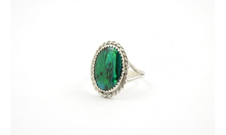 Green paua shell ring