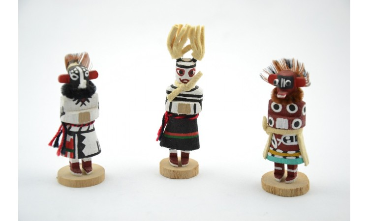Three real kachina dolls