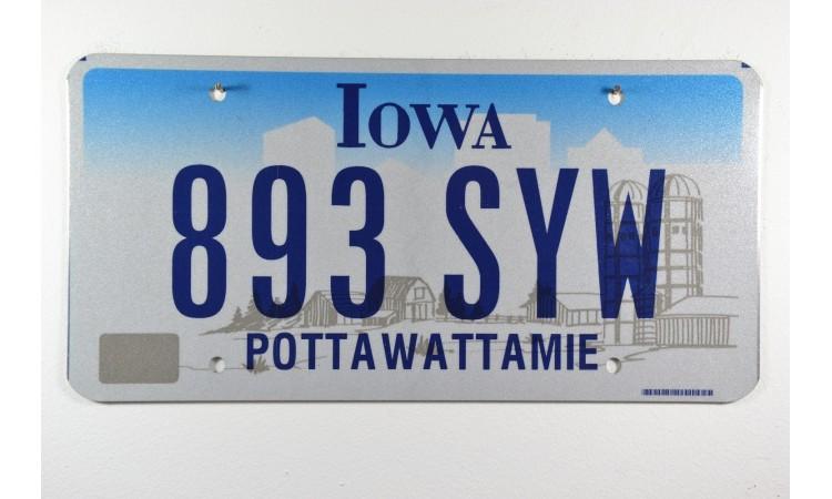 Iowa license plate Pottawattamie county