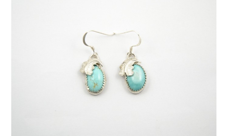 Royston turquoise and feathers earrings