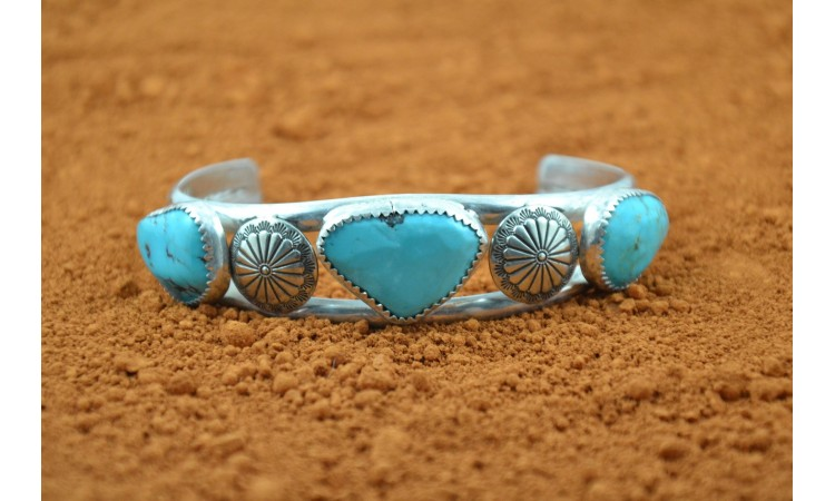 Turquoises and conchos bracelet
