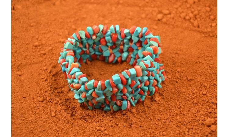 Bracelet baroque turquoise et corail