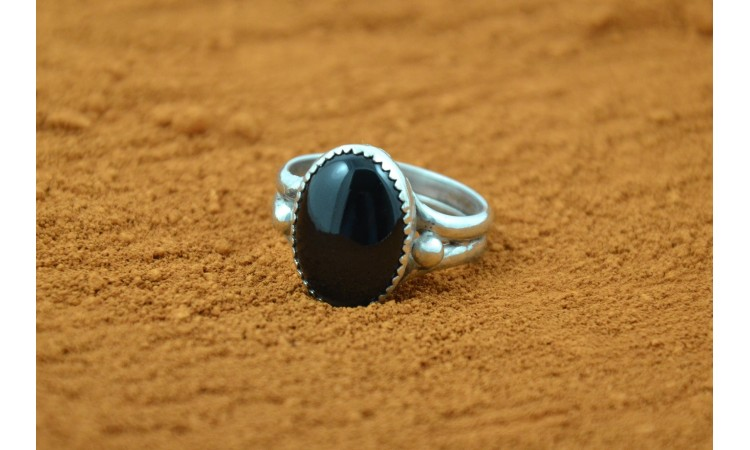 Black onyx and rope Ring