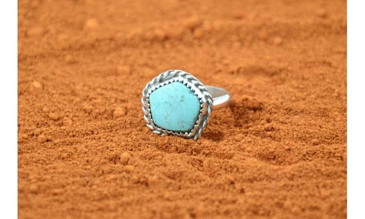 Bague Navajo turquoise Kingman taille 55