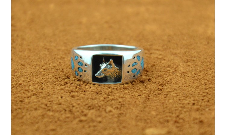 Wolf and Turquoise Navajo Ring Size 10 3/4