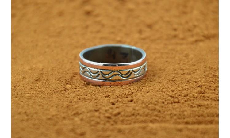 Bague Navajo cuivre et argent taille 69