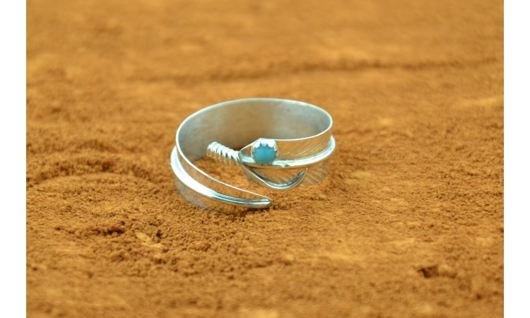 Bague navajo plume Chris Charley