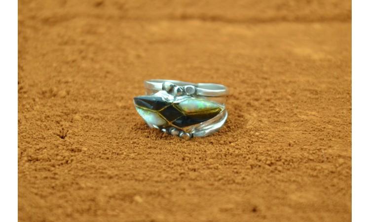 Zuni white opal and black onyx Ring Size 7 3/4