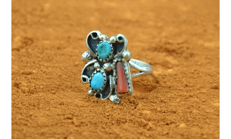 Navajo turquoise and coral ring