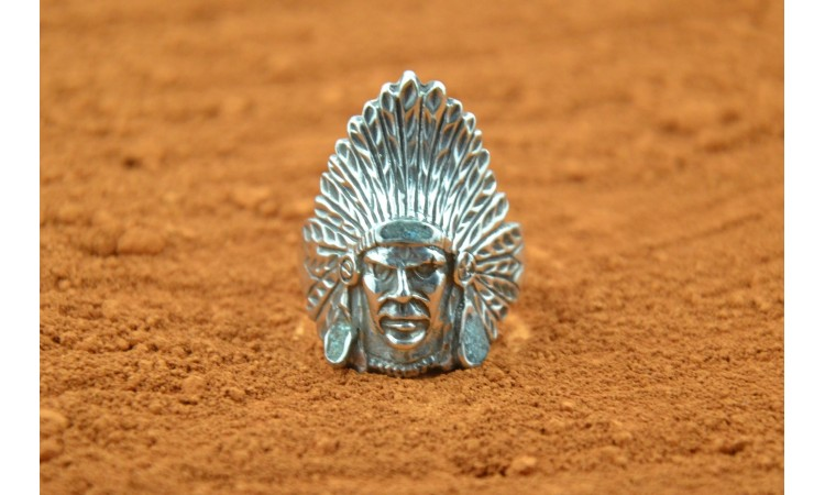 Indian head ring turquoise inlay