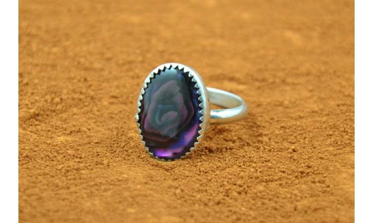 Purple paua shell ring