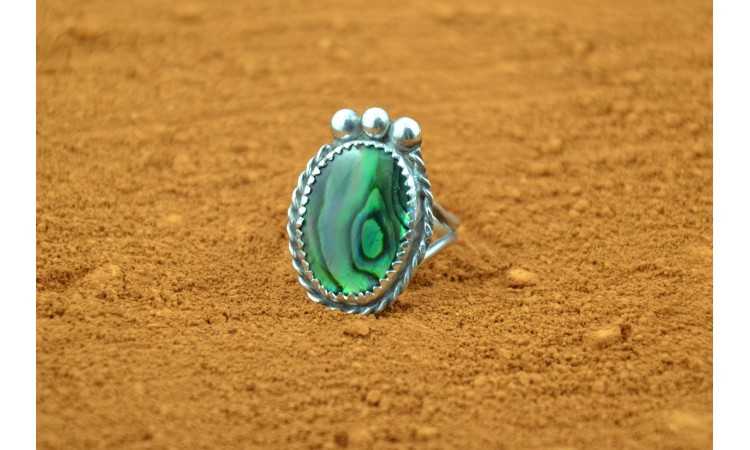 Green paua shell ring