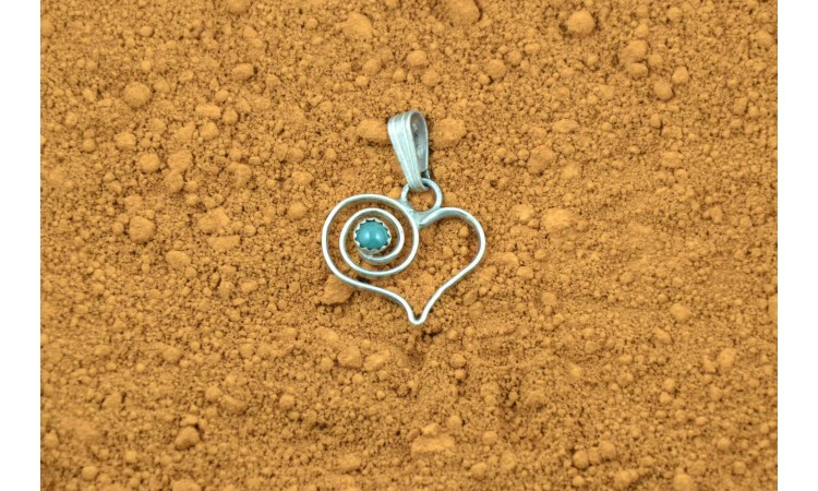 Heart and Turquoise Navajo Pendant