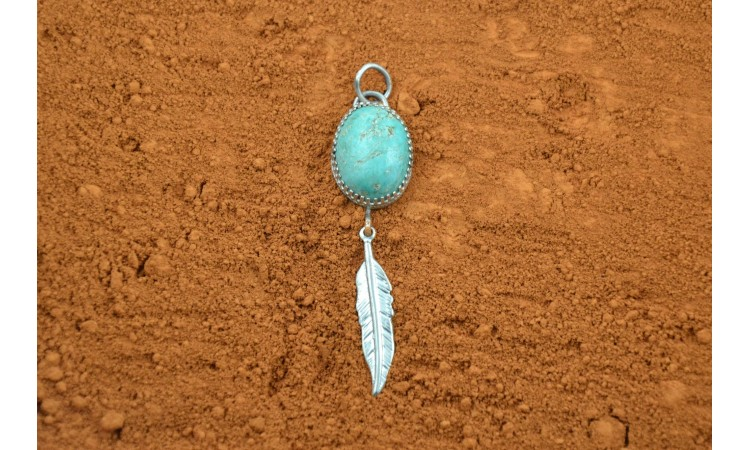 Feather and turquoise Pendant