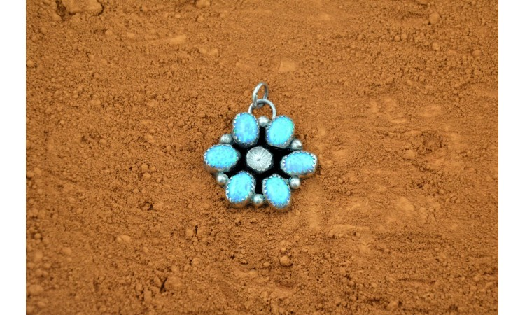 Flower blue opal pendant