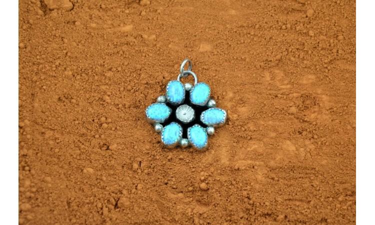 Pendentif fleur opale bleue