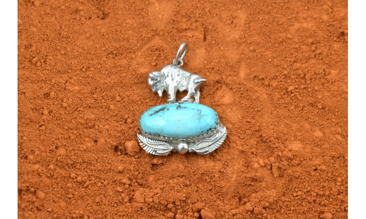 Buffalo and Kingman turquoise pendant