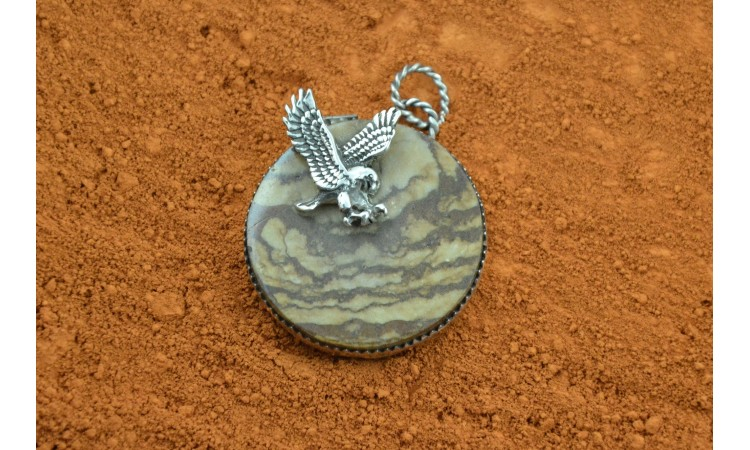 Jasper pendant Eagle flying in the clouds