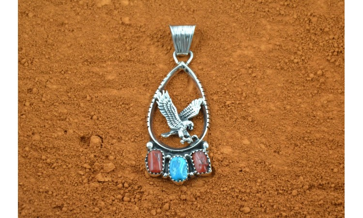 Eagle turquoise and coral pendant Harrison Ben