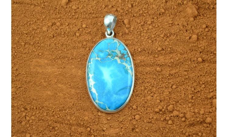 Pendentif jaspe bleue