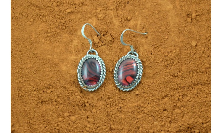 Red abalone earrings