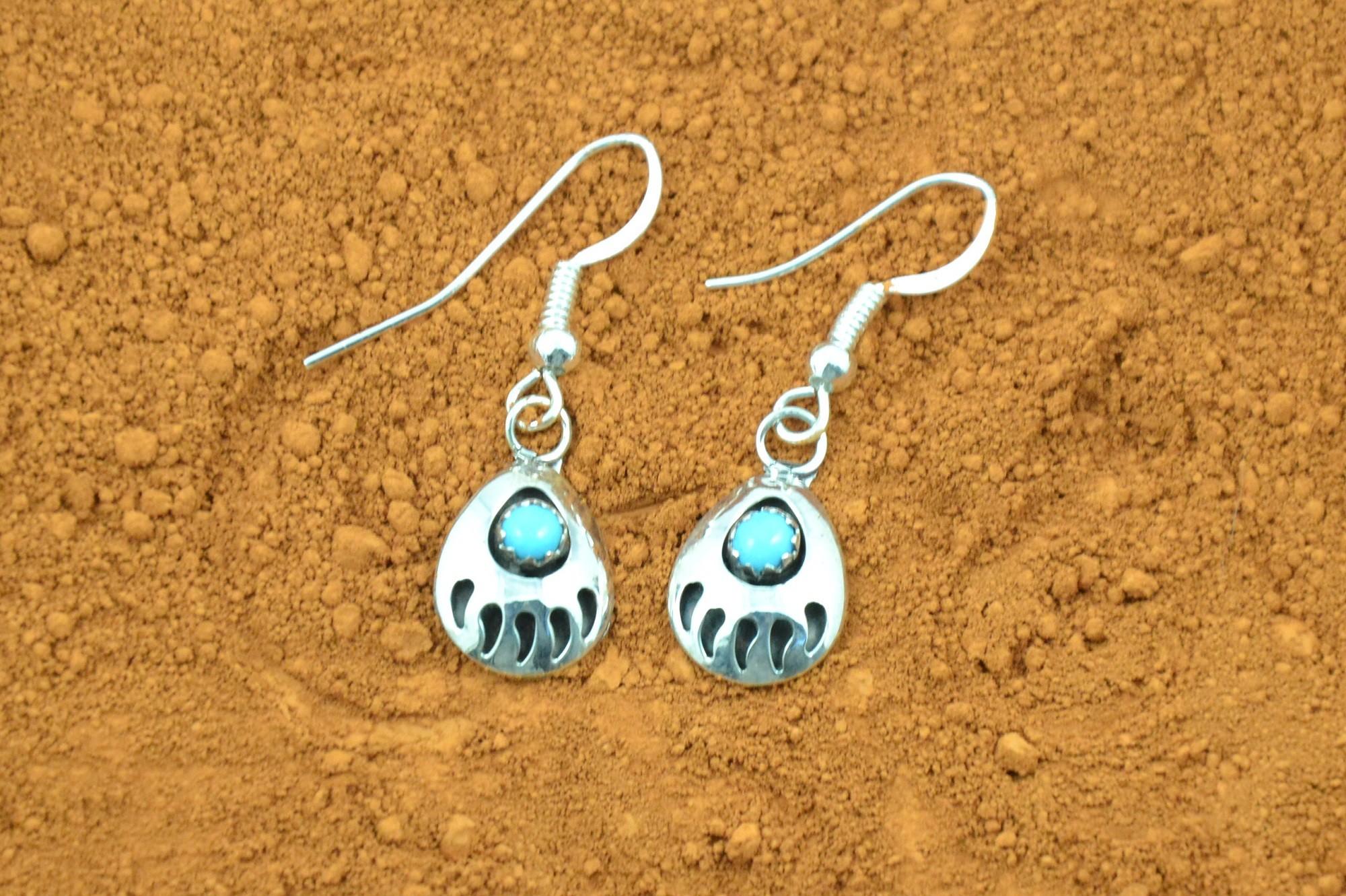 Parker Navajo Indian Sterling Silver Turquoise Bear Paw Bracelet