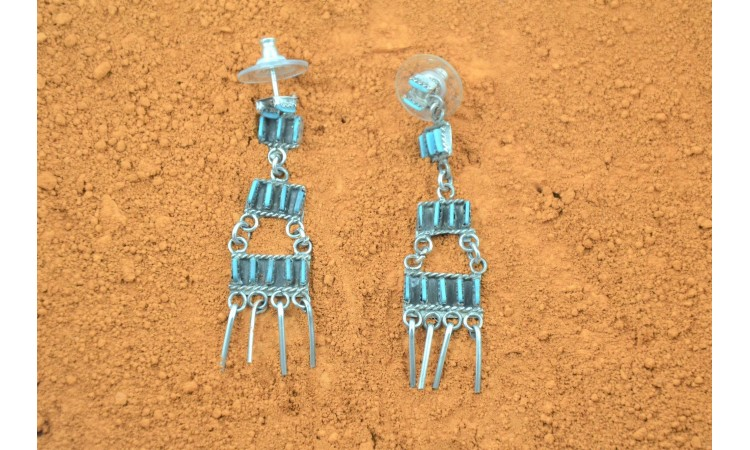 Zuni Needle Point Turquoise Earrings