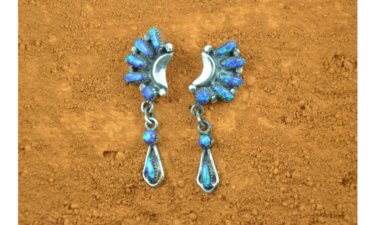 Zuni Opal Earrings Bill and Lou Laweku