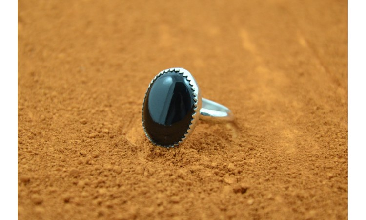 Native american black onyx ring