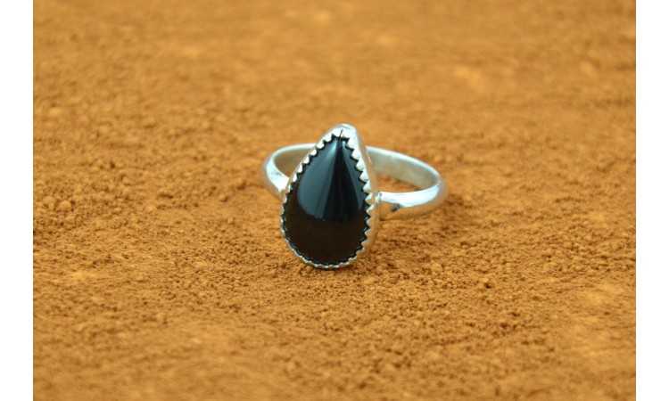 Native american black onyx ring