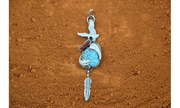 Eagle turquoise and coral pendant