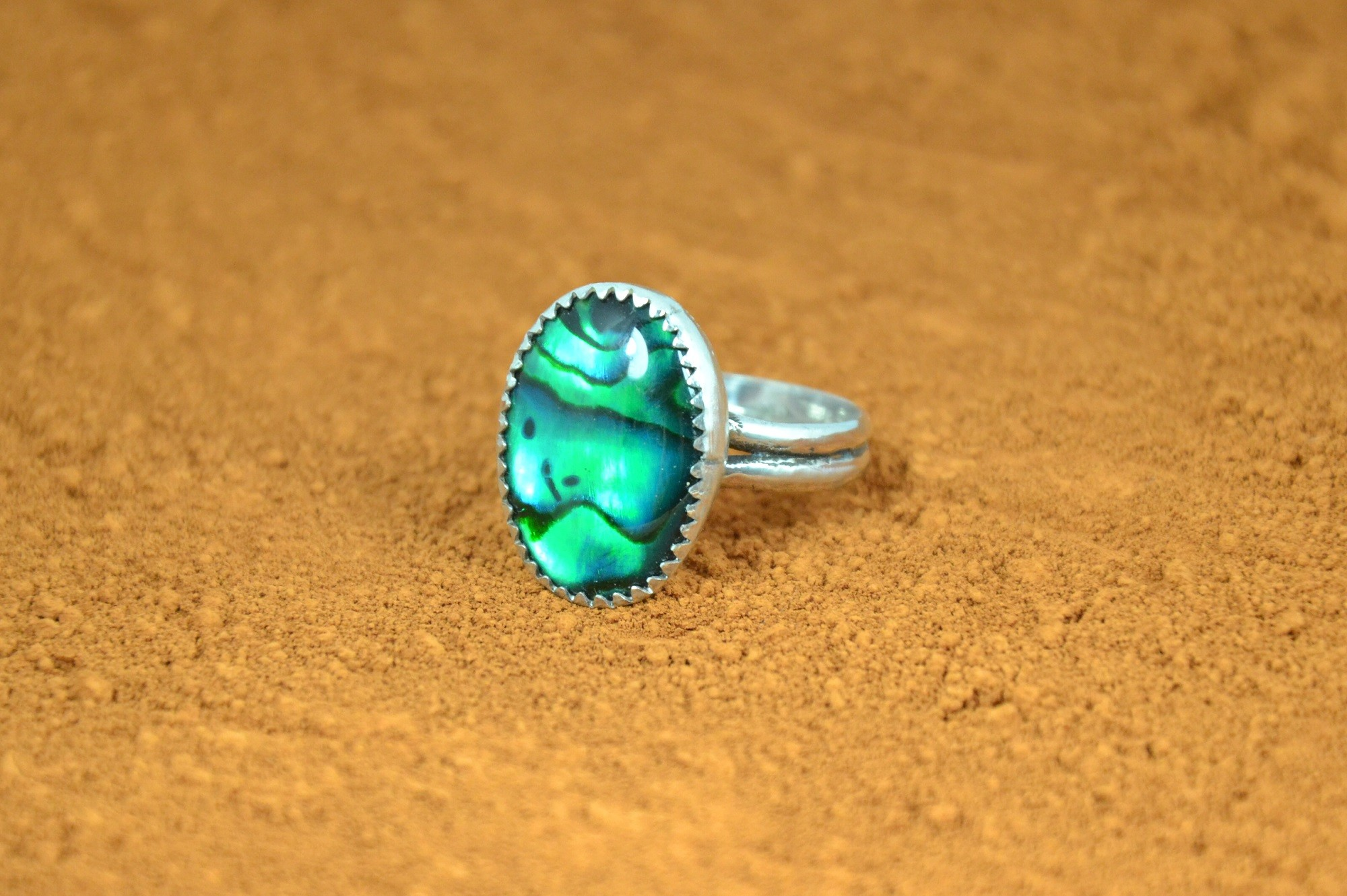 Sterling Silver Ring GreenTinted Abalone Shell Green Ring,Green Shell Ring Adjustable Curved Ring
