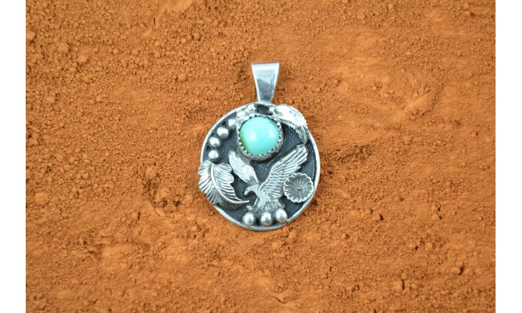 Eagle and turquoise pendant