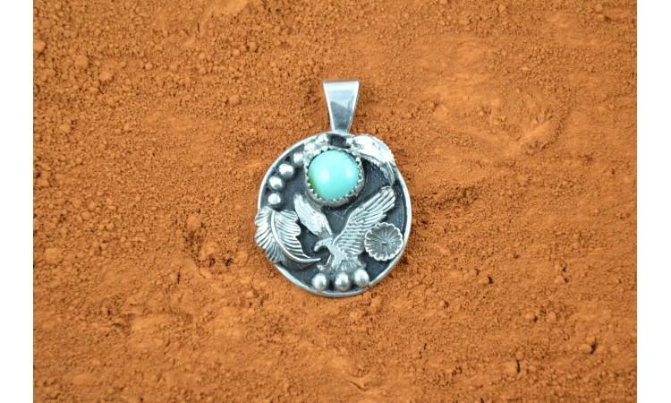 Eagle and turquoise pendant