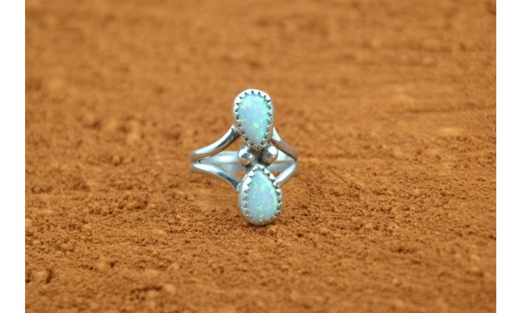 White opal native american ring