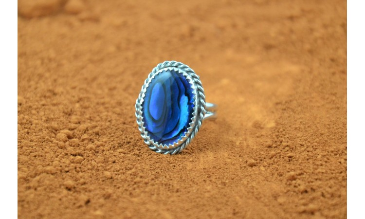 Blue paua shell ring