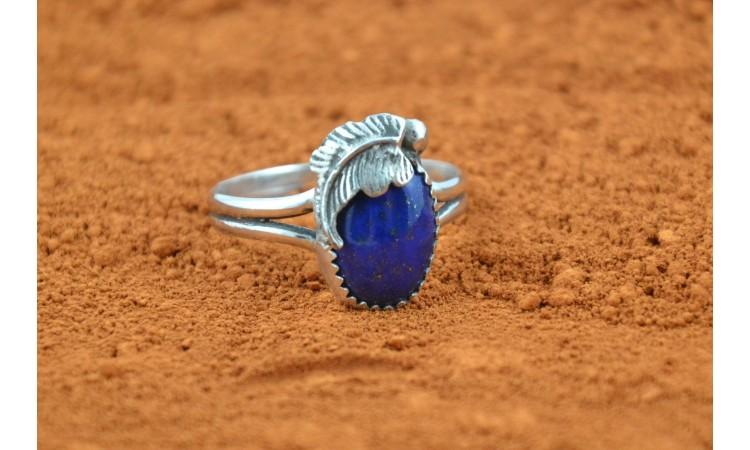 Bague lapis lazuli et plume