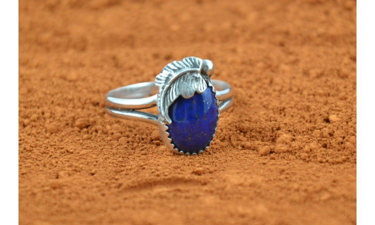 Lapis lazuli and feather ring