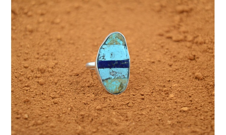 Inlay turquoise and lapis ring