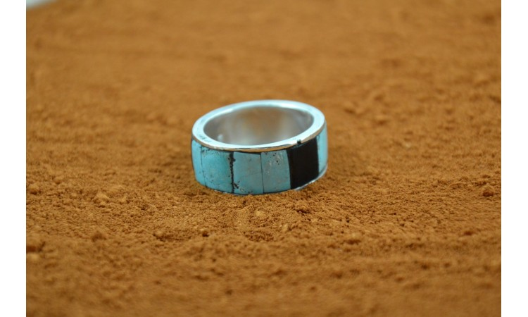 Bague inlay turquoise et onyx taille 67