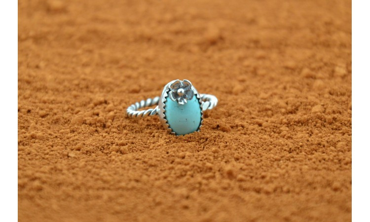 Royston turquoise and flower ring