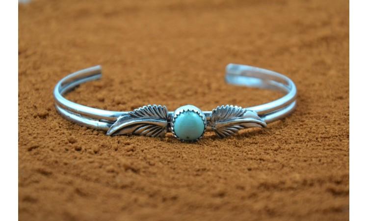 Bracelet turquoise et plumes