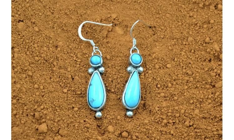 Boucles d'oreilles turquoises d'arizona