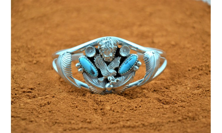 Buffalo eagle and turquoise bracelet