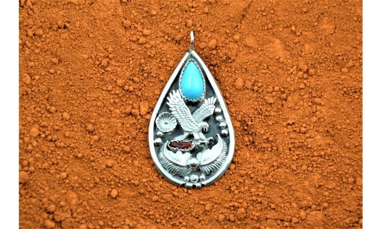 Navajo eagle pendant and turquoise Harrison Ben