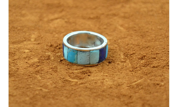 Bague turquoise et lapis lazuli inlay taille 59