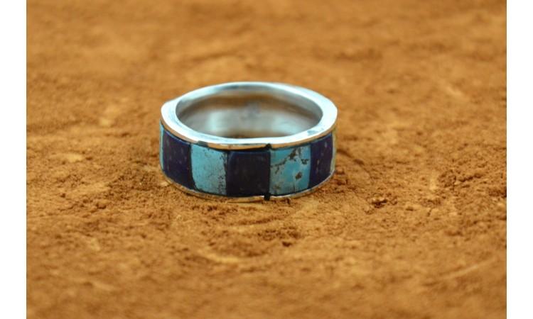 Bague turquoise et lapis lazuli taille 64