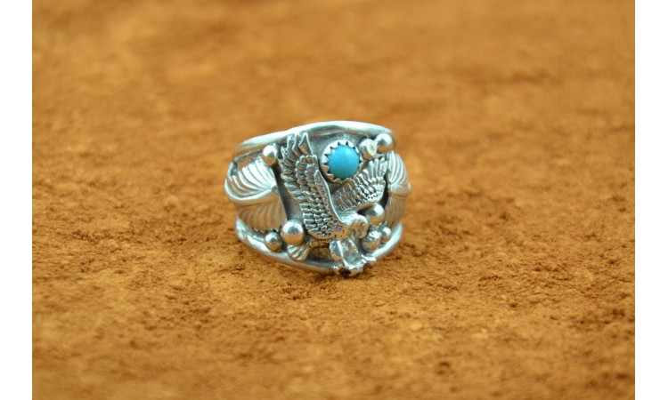 Eagle and turquoise ring size 10
