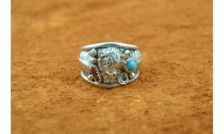 Buffalo turquoise and coral ring size 11.5